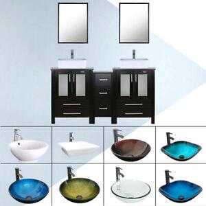 60 Black Bathroom Vanity Vessel Sink Set Cabinet W Mirror 2 Drawer Faucet Combo Ebay