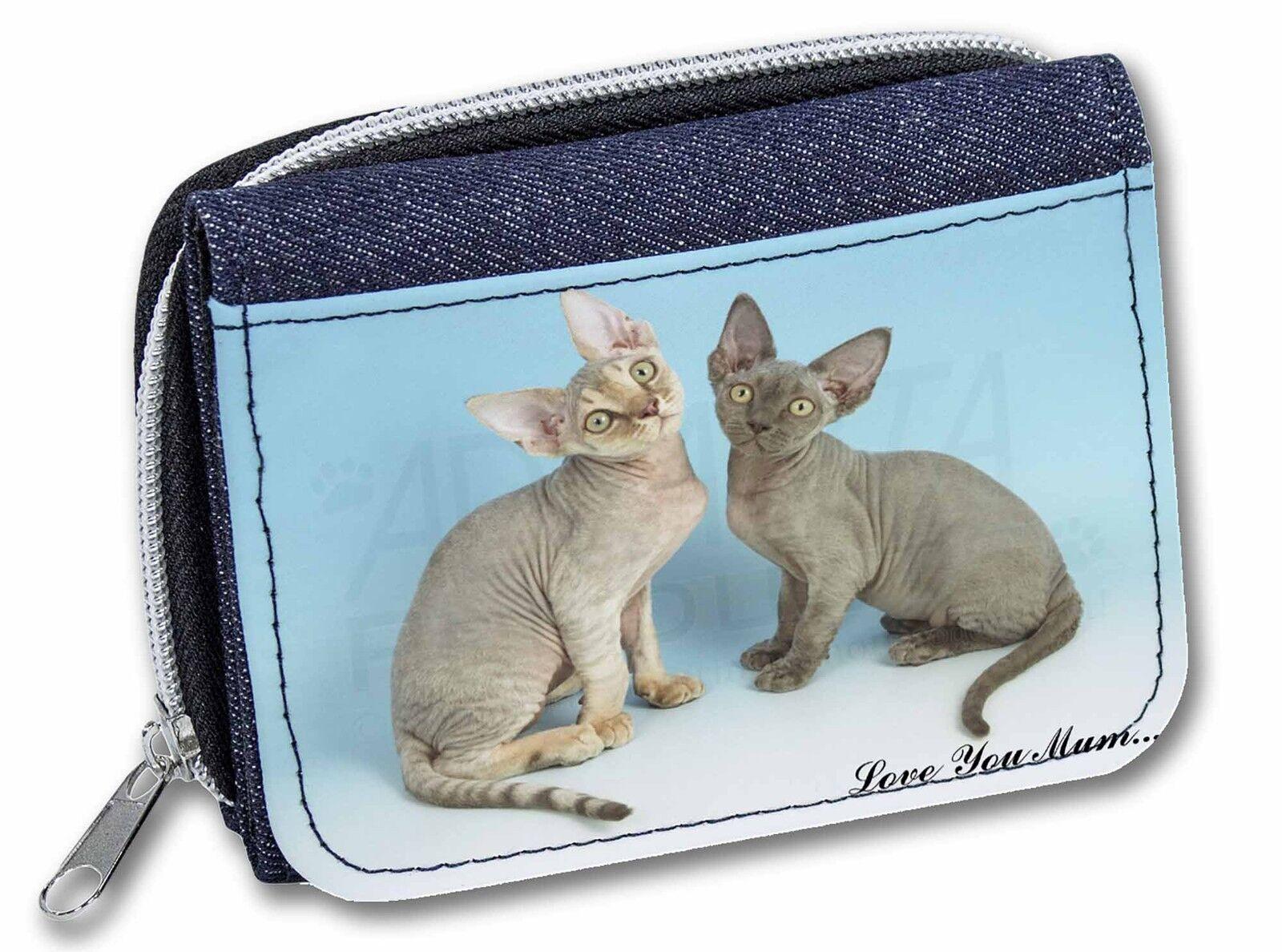 Devon Rex Cats 'Love You Mum' Girls/Ladies Denim Purse Wallet Christ, AC-20lymJW
