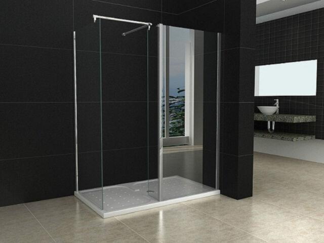 1400X900mm Walk in Shower Enclosure Door + Shower Tray + Trap Waste