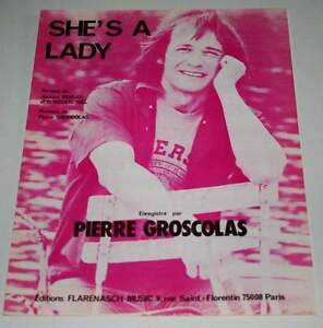 Partition-vintage-sheet-music-PIERRE-GROSCOLAS-She-039-s-a-Lady-80-039-s