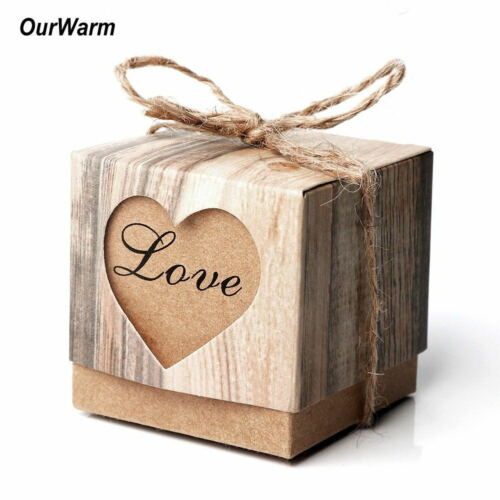 100x Wedding Favours Candy Box Kraft Paper Love Heart Gift Boxes Party Supply