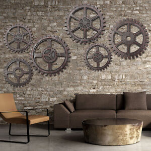 Gear Wall Decor wooden gear wall art industrial antique vintage modern home bar