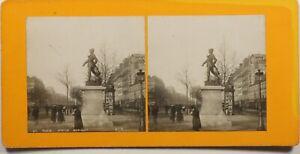 Francia París 1900 Estatua Bobillot, Foto Estéreo Vintage Analógica
