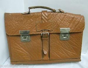 Alte-Aktentasche-Ranzen-Ledertasche-Schultasche-Tasche-Aktenmappe-Vintage
