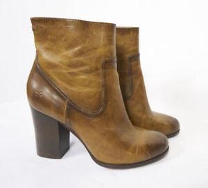 FRYE-Parker-Short-Brown-Tan-Antiqued-Leather-High-Heel-Zip-Bootie-Boots-Women-11