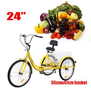 """Ridgeyard 3-Wheels Trike 24/"""" Adult Tricycle 7-Speed Shimano Bicycle Bike"""