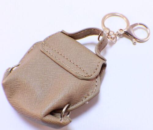 Rhinestone Bling Key Chain Fob Purse Charm Beige Coin Purse Gold Tone