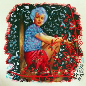 MARIA-MURGIA-034-Marilyn-Monroe-034-CM-30X30-pezzo-unico-dipinto-su-cartoncino-avorio
