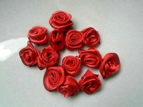 Applique mini Rose ruban satin  Scrapbooking Couture  Embellissements lot 10pcs