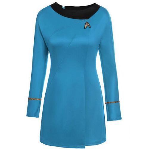 Star Trek Sternenflotten Uniform Kleid von Nyota Cosplay Kostüm Damen Rot /& Blau
