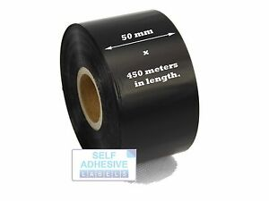 Details about Zebra ZM400 50mm x 450m Black Thermal Transfer Ribbons Wax  Grade - Box Of 12