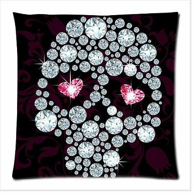 Diamonds Skull Black Cotton & Polyester Cushion Cover