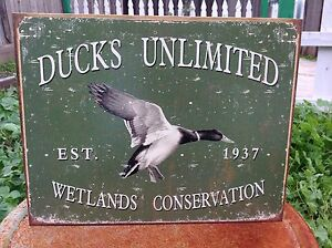 Image Is Loading Ducks Unlimited Wetlands Conserve Tin Sign Wall Bar