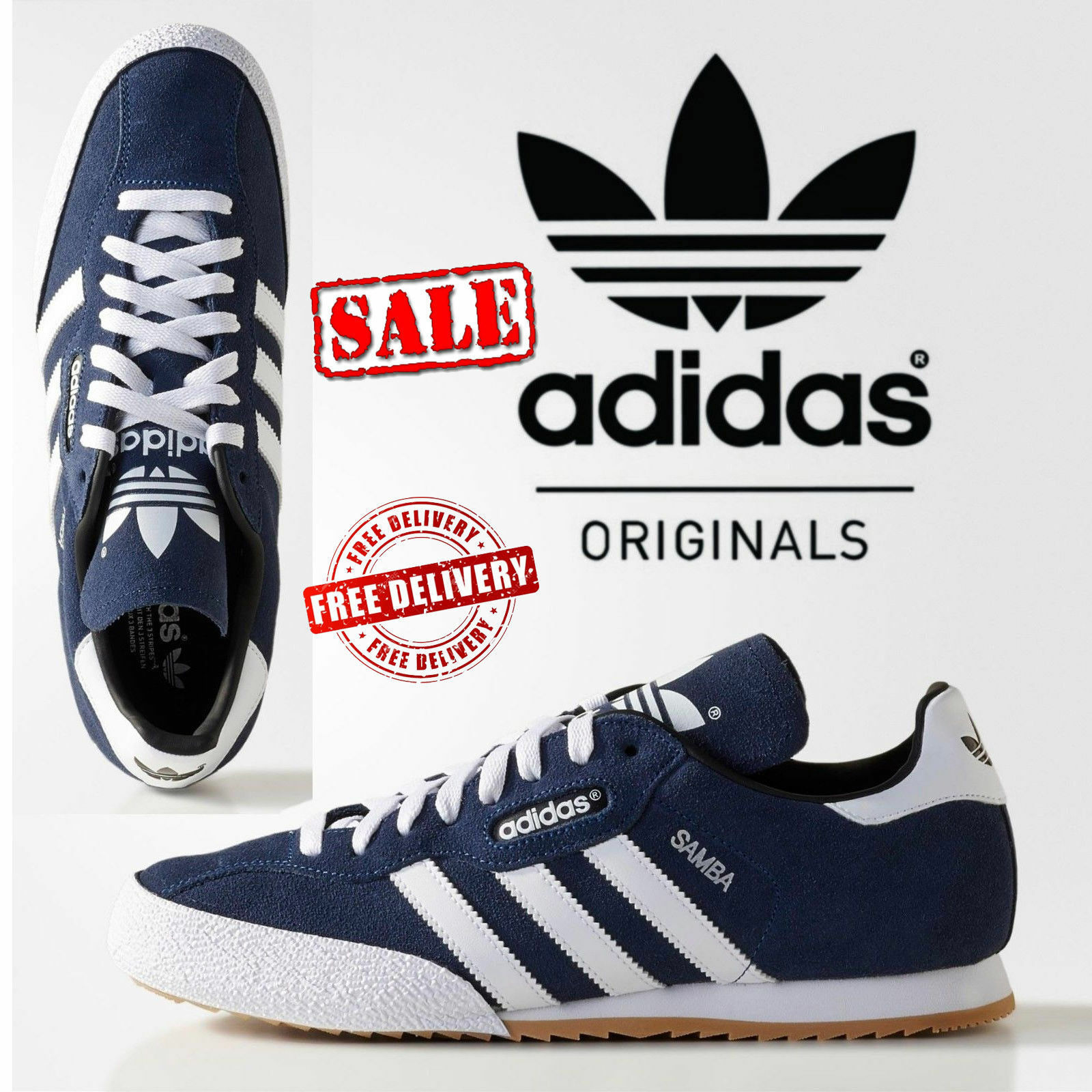 New Adidas Originals Samba Suede Mens Sports Casual Trainer Shoes Navy rrp  Great discount