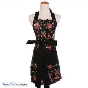 Amazing Details About Vintage Retro Country Cottage Black Red Rose Womens Kitchen Apron Home Interior And Landscaping Ologienasavecom