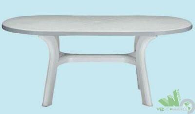 Tavolo Plastica Giardino Allungabile.Tavolo Ovale Estensibile Allungabile Resina Pagoda Bianco 180