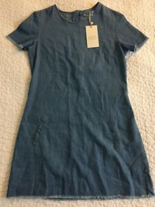 64c483b27a8 NEW $50 ZARA XS Chambray Denim Short Sleeve Raw Edge Mini Dress ...