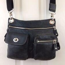 ROOTS Canada Dark Grey Leather Flat Crossbody Messenger Bag Village Prince