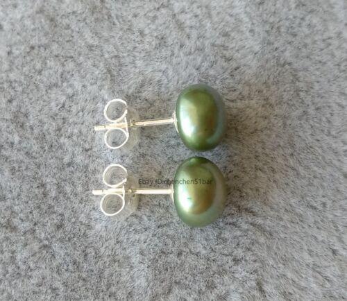 Wunderschöne winzige 8.0-8.5mm Grün Süßwasserperle 925 Silber Ohrstecker