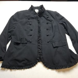 Chicos-3-Black-Open-Front-Ruffle-Military-Style-Open-Front-Blazer-Jacket-A1193