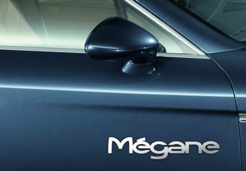 Renault MEGANE CROMO puerta calcomanías de lado Pegatinas de Vinilo Coche Gráfico X2 7YR Vinilo