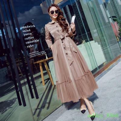 Fashion Womens Casual Mesh Gown Splicing Trench Jackets Dress Coats Full Length
