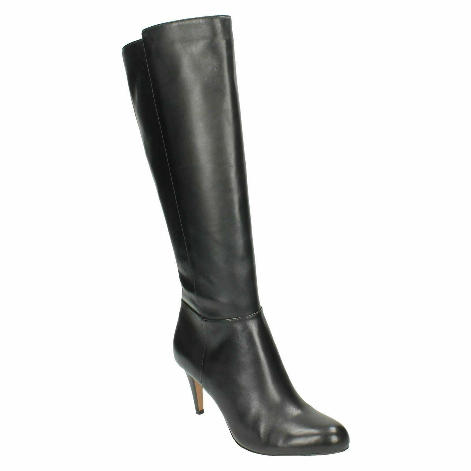 Carlita Encanto Señora Clarks Tacón Stiletto Cremallera Botas De Cuero Negro