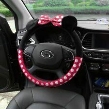 Cute Car Steering Wheel Cover Winter Plush Bow Mickey Minnie Women Decorations