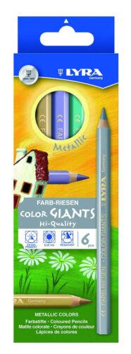 6x Lyra Farb Riesen METALLIC dicke Farbstifte Buntstifte Malstifte GOLD SILBER