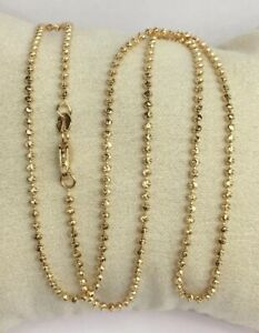 18k-Solid-Yellow-Gold-Italian-Beaded-Ball-Shiny-Chain-Necklace-20-6-50-Grams