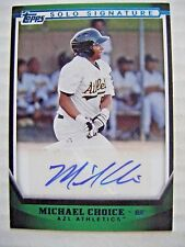 MICHAEL CHOICE signed #/199 A's RANGERS AUTO 2011 Topps Pro Debut baseball card