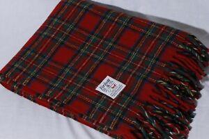 Faribo-Faribault-Red-Tartan-Plaid-100-Wool-Throw-Camp-Stadium-Blanket-60x50