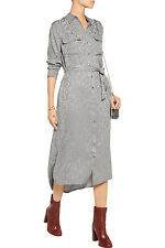 Equipment Delany Leopard Jacquard Silk Shirt Dress in Frost Gray Size Small S