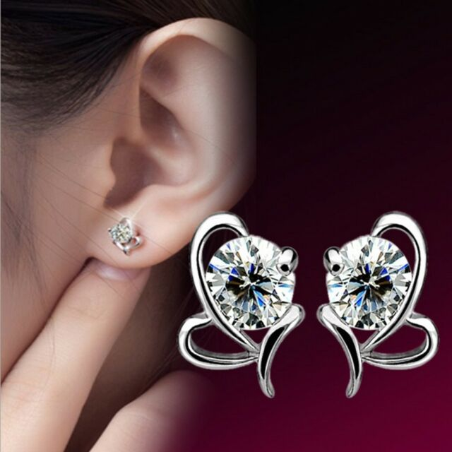 Crystal New Shiny HOT Small Ladies Heart Shape Silver Plated Stud Earrings