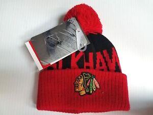 64d73261b00 TODDLER Chicago Blackhawks Knit Hat Team Apparel Pom Cuff Stocking ...