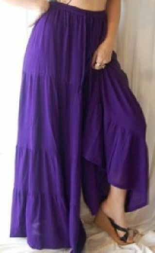 Purple pants gauchos ruffle tiers wide OS M L XL 1X 2X 3X 4X ONE SIZE PLUS