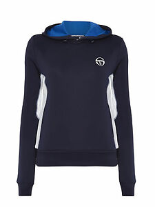 Sergio-Tacchini-Men-039-s-Luciano-Hoody-Navy-white-side-panels-Size-XS