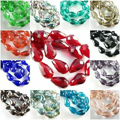 50//100X Faceted Glass Crystal Charms Findings Teardrop Spacer Loose Beads 6//8mm
