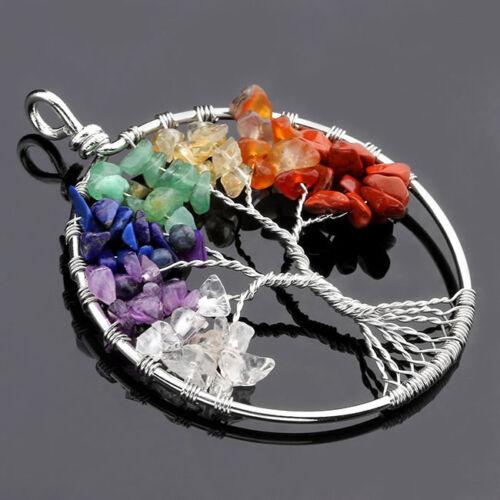Tree of Life Wire Wrap Gemstone Amethyst Quartz Garnet Agate Beads Pendant Chain