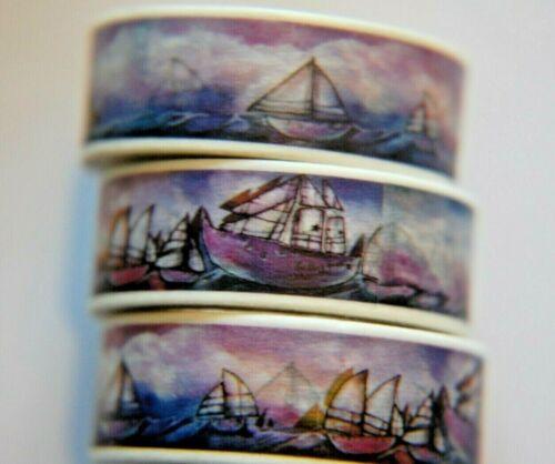 1 Roll Japanese WASHI Tape ~ 10m x 15mm ~ Vintage Sail Boats at Sea Purple