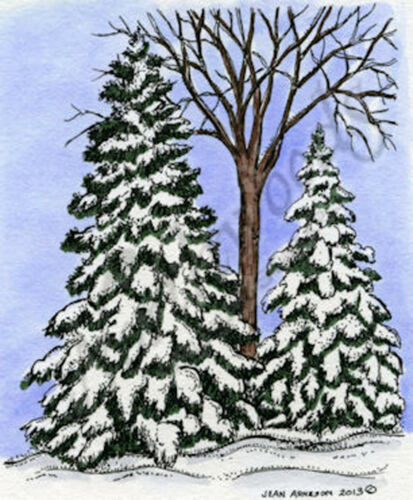 Winter Pines /& Bare Tree Scene Wood Mounted Rubber Stamp NORTHWOODS M9359 New