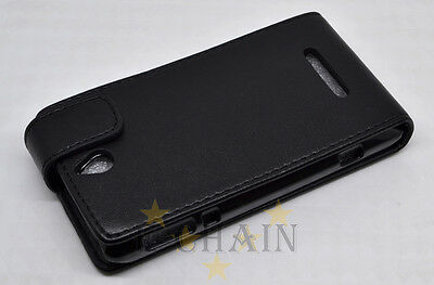Black Leather Cover Pouch Flip Case For Sony Xperia E dual C1605 C1505 C1504