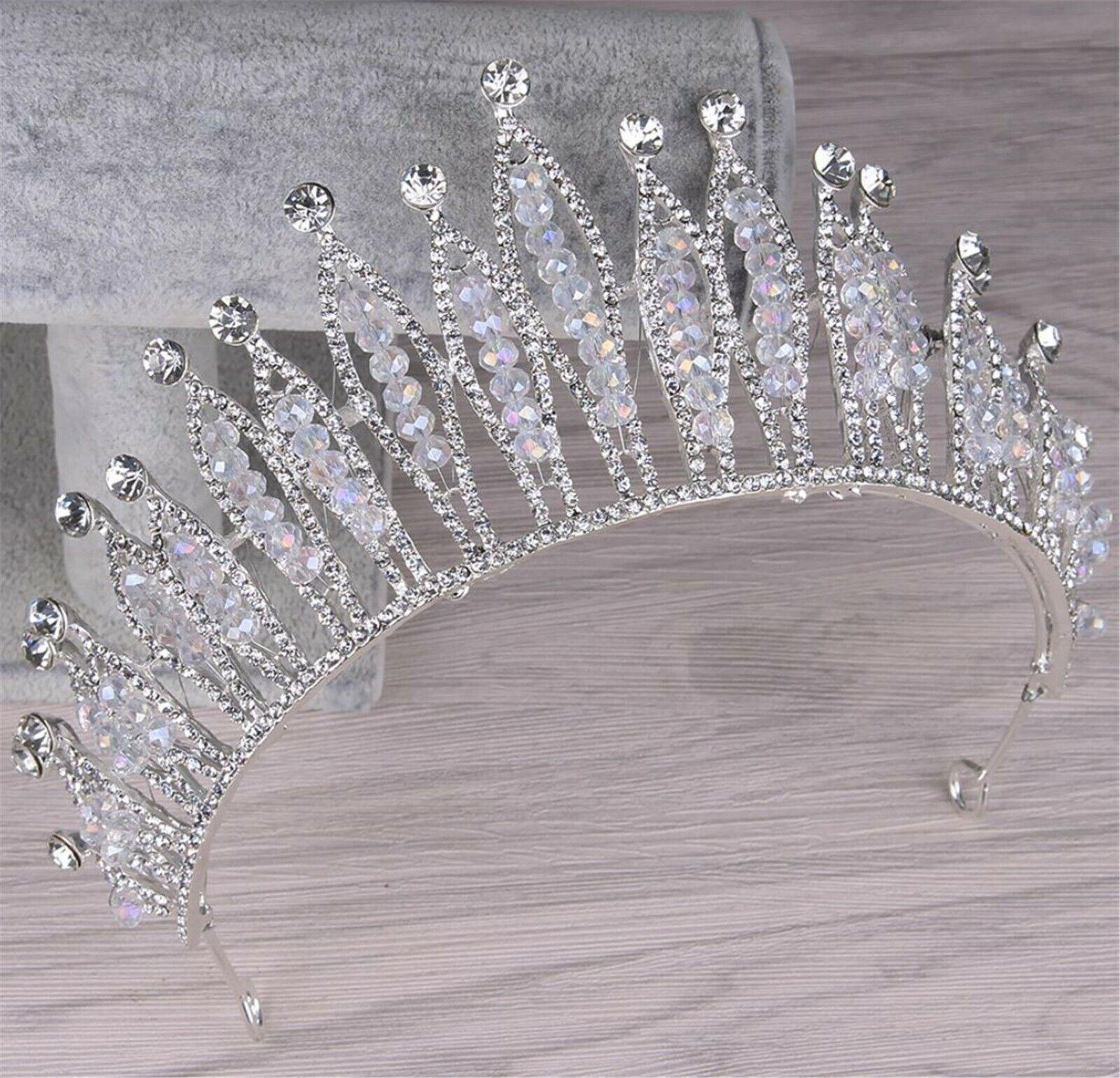 Women Bride Ice Queen Prom Rhinestone Silver Color Headband Head Tiara Crown