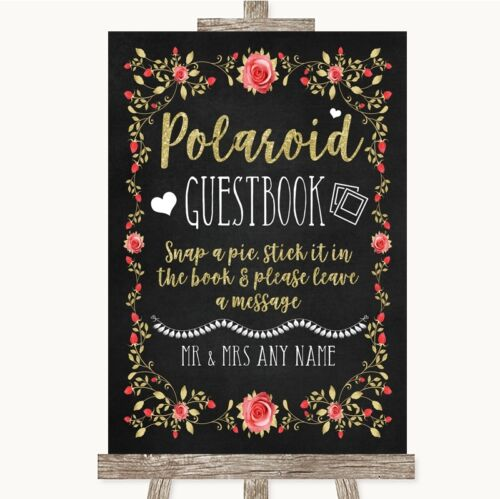 Chalk Style Blush Pink Rose /& Gold Polaroid Guestbook Personalised Wedding Sign