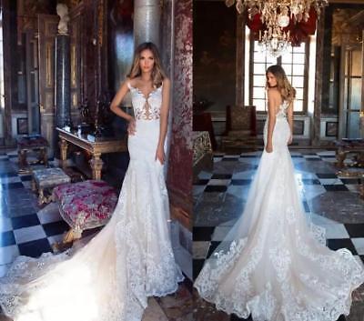 Sheer Neck Appliques Lace Wedding Dresses A-Line Beach Bridal Gowns Plus 2-26W