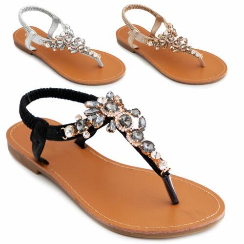 Scarpe donna gioiello sandali pianelle strass eleganti cerimonia TOOCOOL R-28
