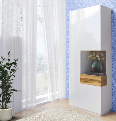 Standvitrine Vitrine Glasvitrine Schrank 80cm weiß hochglanz votaneiche 88588538