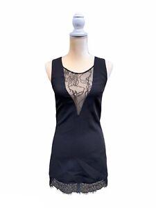 NBD Black Lace Mini Dress Size Xs Extra Small V Neck Lace Trim
