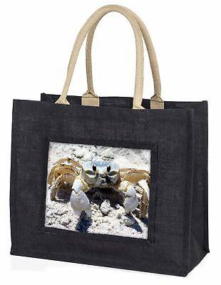 Krabbe auf Sand Große schwarze Einkaufstasche Weihnachten Geschenkidee, af-c1blb