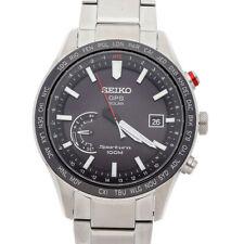 Seiko Sportura GPS Solar Quartz 45mm Steel Black Dial Mens Watch SSF003